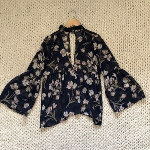 3 for $25 SALE Navy Sheer Floral Choker Blouse